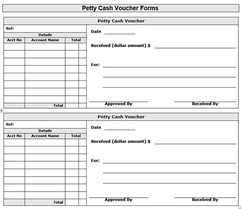 sample petty cash voucher templates printable samples