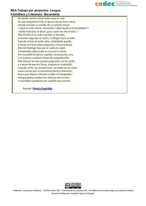 viga lengua castellana selecci 243 n de textos de quot el m 237 o cid quot