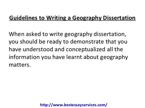 geography dissertation guidelines to writing a geography dissertation