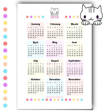 Calendrier 2018 Printable Free Printable 2018 Kawaii Calendar Kalender 2018