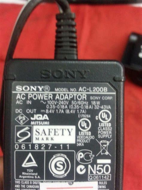 cargador para camara sony cargador sony ac l200 de camara dcr sx22 sx45 cx240 cx330