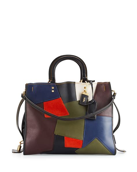 Patchwork Tote Bags - lyst coach rogue patchwork leather and suede tote bag