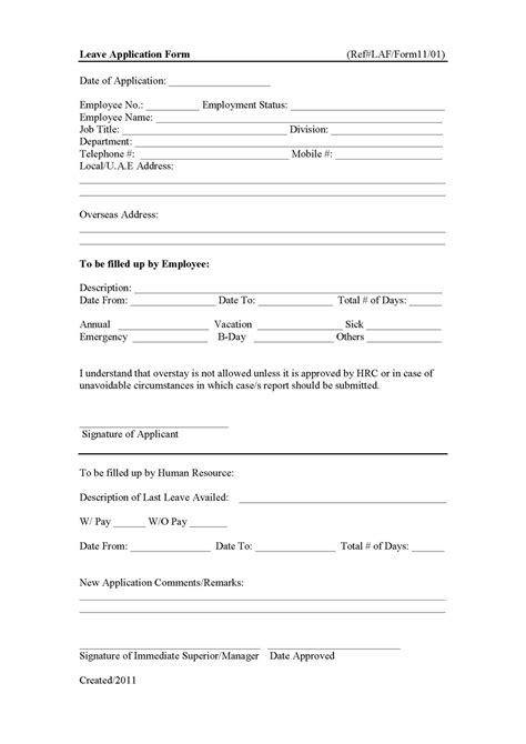 hr forms and letters january 2011