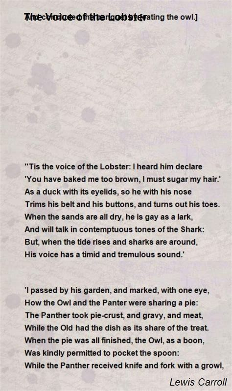 the voice lobster hair the voice of the lobster poem by lewis carroll poem hunter