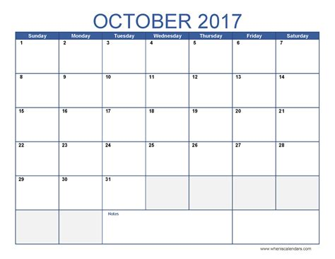 printable calendar for october october 2017 calendar printable templates
