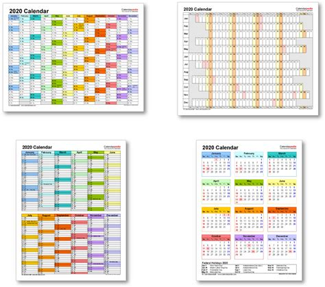 Kalender 2020 Pdf 2020 Calendar With Federal Holidays Excel Pdf Word Templates