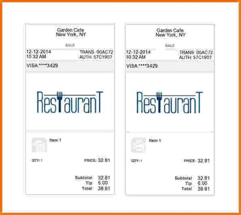 Food Receipt Template by 9 Food Bill Receipt Template Financial Statement Form