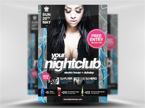 free club templates free psd nightclub flyer template
