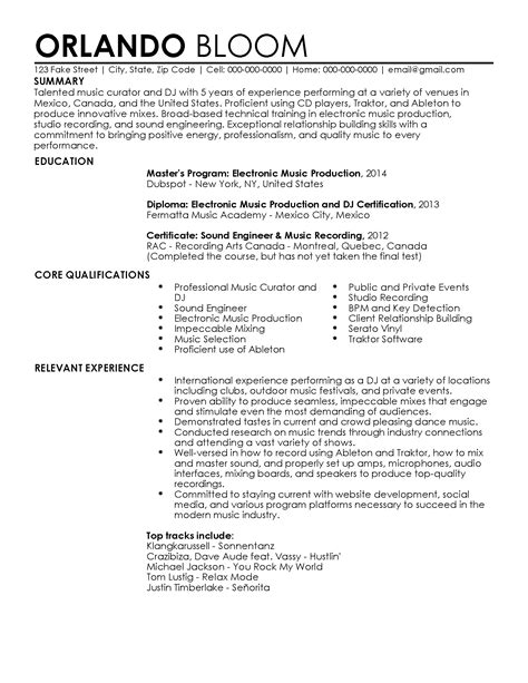 Entertainment Resume Template by Professional Dj Resume Templates To Showcase Your Talent