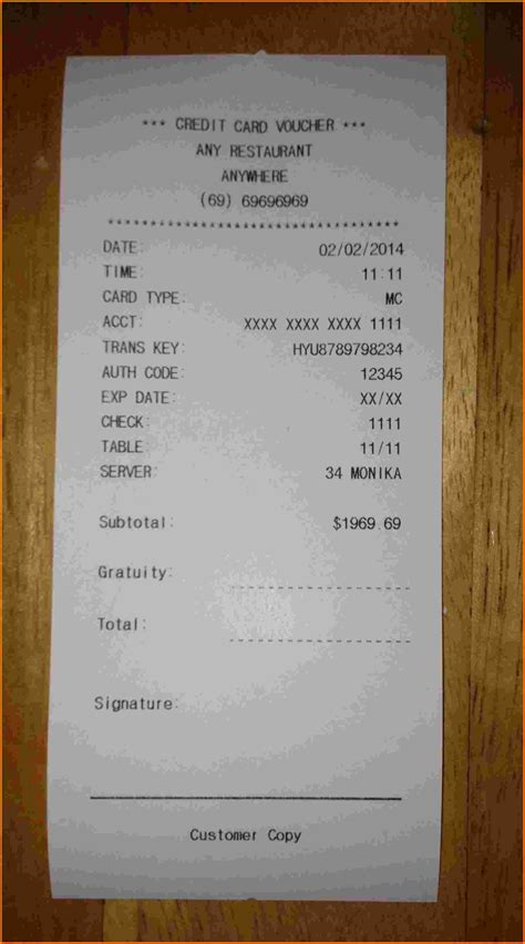 restaurant receipt template free receipts template contract template free