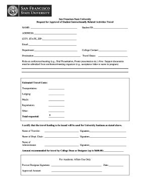 san application fillable online sfsu ira student travel application form