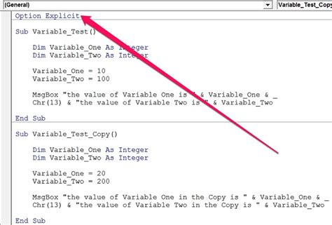 declaration section define variables in vba declare variables and assign them
