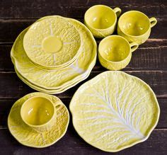 Tea Set Shabby 15 Pcs Nakami vintage secla portugal yellow cabbage leaf dinner set 15