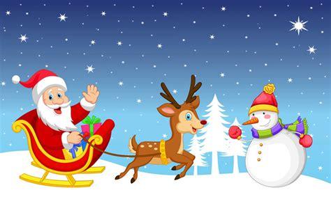 merry christmas snowman santa claus sleigh reindeer gifts