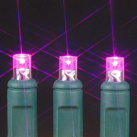 pink 20 light battery operated christmas lights on green