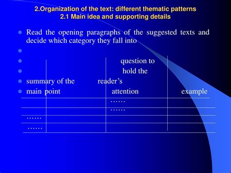 pattern of organization main idea ppt topic developing reading skills powerpoint