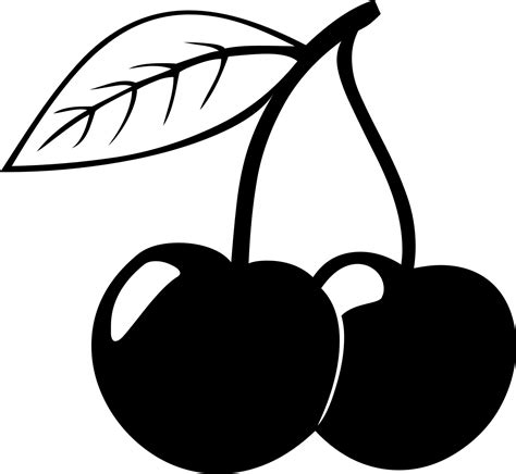 cherry clipart black and white pencil and in color