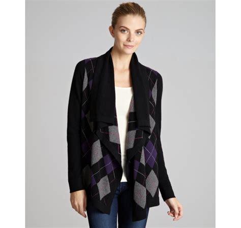 autumn cashmere drape cardigan autumn cashmere black argyle cashmere drape front cardigan