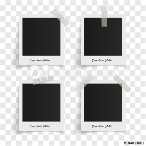 set  polaroid vector photo frames  sticky tape