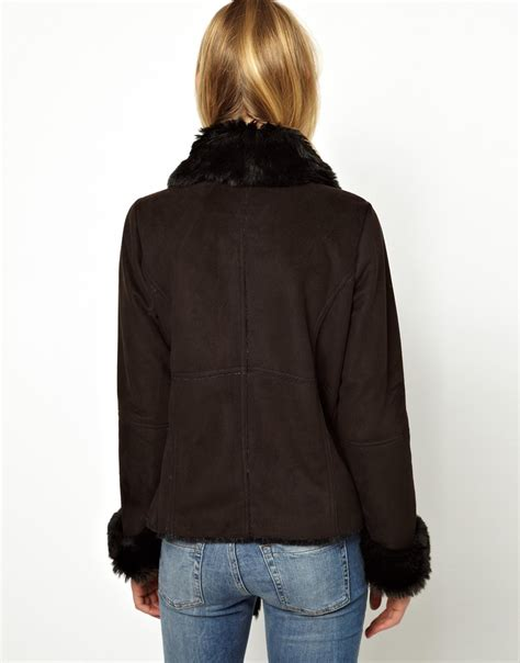 faux shearling drape jacket asos oasis faux shearling drape coat in black lyst