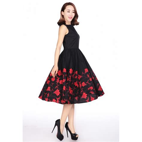 Boho Style Home Decor by Black Retro Cocktail Dress With Red Floral Print Plus