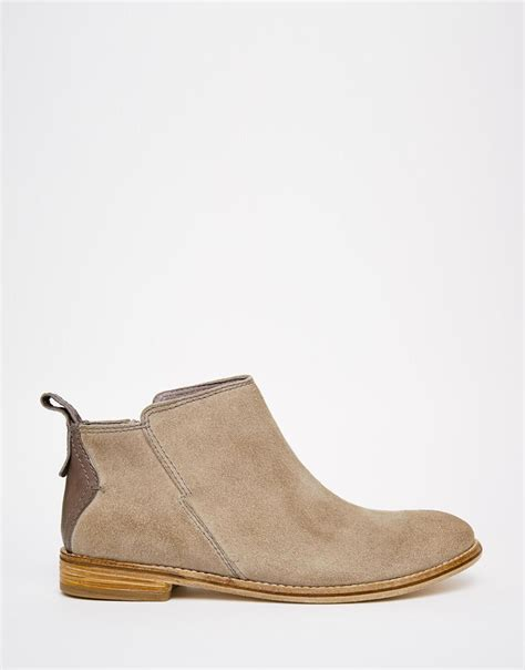 h by hudson revelin grey suede ankle boots in brown lyst