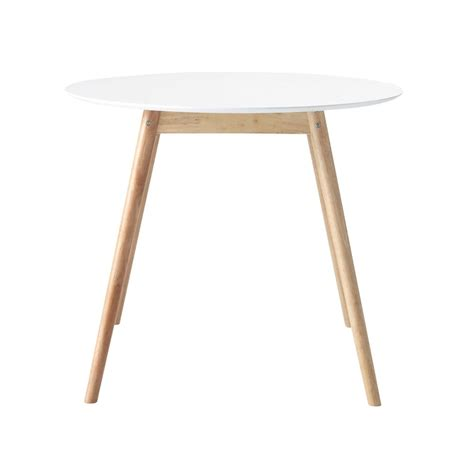 table ronde de salle 224 manger en h 233 v 233 a blanche d 90 cm
