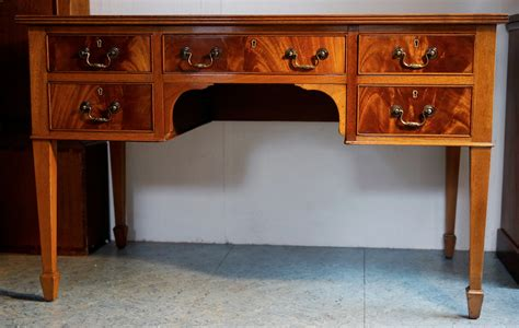 Solid Mahogany Desk by 1930s Solid Mahogany Five Drawer Oak Lined Writing Table