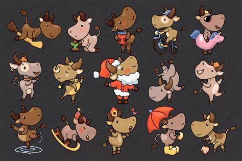 year  ox cute character set vector  raster