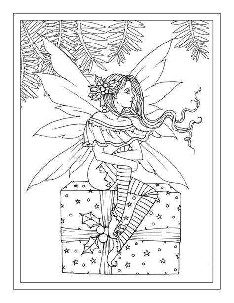 christmas fairy coloring page christmas fairy sitting on gift printable instant download