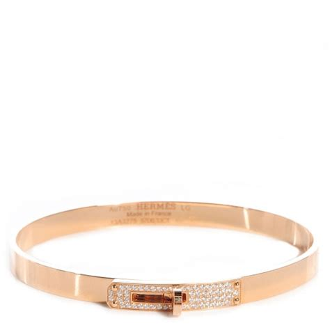 HERMES 18k Rose Gold Kelly Diamond Bangle Bracelet Large 70053