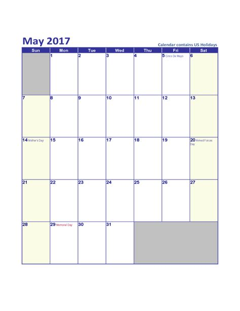 may template may 2017 calendar template free