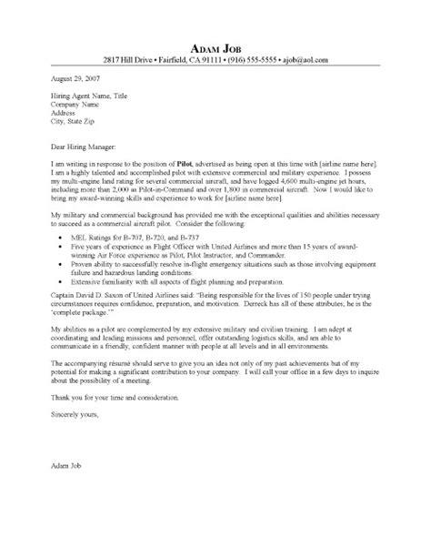 Pilot Cover Letter Resume Cover Letter