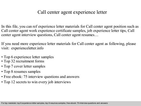 Experience Letter Call Center Call Center Experience Letter