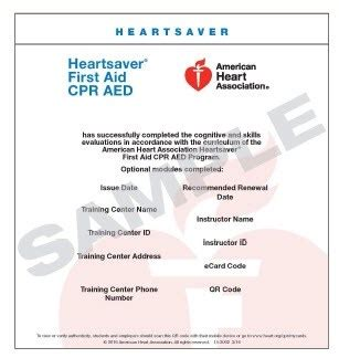 heartsaver aid cpr aed card template 15 3002 heartsaver aid cpr aed ecard