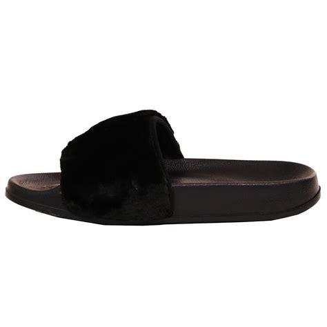 rubber sandals womens womens slip on flat farrah rubber slider mules fur slipper