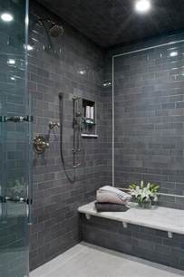 Modern Subway Tile Bathroom Designs Gray Subway Shower Tiles With White Marble Top Bench
