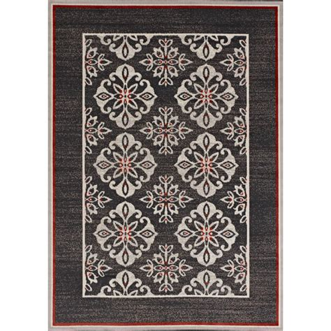 5 X 7 Indoor Outdoor Rug Hton Bay Medallion Border Grey 5 Ft X 7 Ft Indoor Outdoor Area Rug 232450911602251
