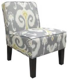 Upholstered slipper accent chair grey amp gold ikat contemporary chairs