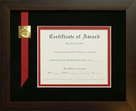 award honors service certificate frame  included