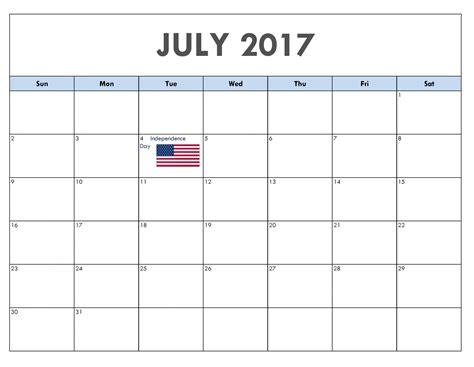 July Calendar July 2017 Calendar Usa