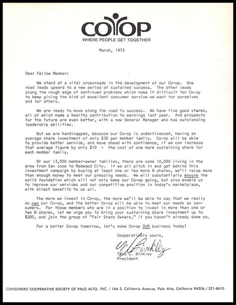charity letter for age home co op of palo alto fundraising 1973 items diatrope books