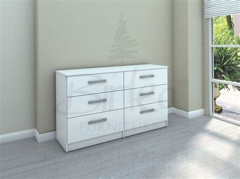 Low Wide Chest Of Drawers White by Birlea Lynx White With White Gloss 6 Drawer Wide Chest Of