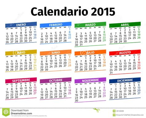 printable calendar in spanish spanish calendar 2015 stock photo image of green colored