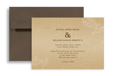 horizontal wedding invitation templates swirly beige brown microsoft wedding invite 7x5 in