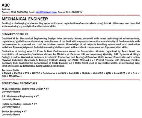 resume engineering resumes 4 mechanical engineer new grad entry