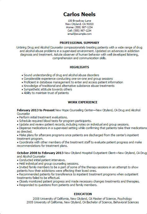 substance abuse counselor resume professional and counselor templates to