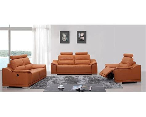 Orange Leather Sofa Set Orange Italian Leather Sofa Set W Recliners 44l5304
