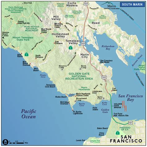 Napa Bed And Breakfast Map Of Marin Amp Directions Maps Amp Transportation Marin