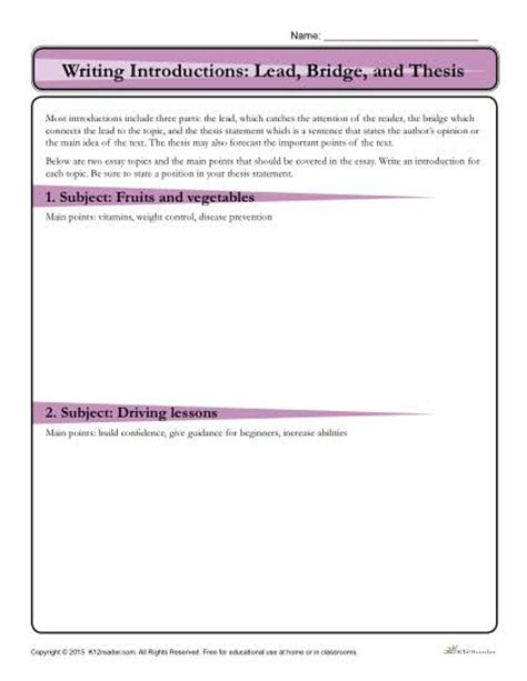 Bridges Essay Writing by How To Write An Introduction Lead Bridge And Thesis Activity